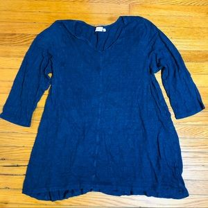Tops - Habitat Top Size M 3/4 Sleeve Linen Blouse